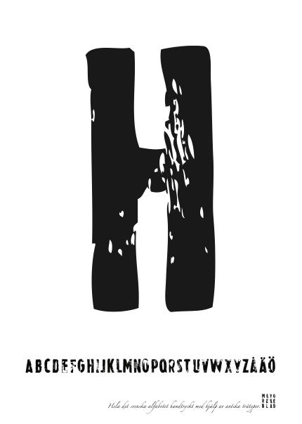 PRINT AV handtryckt bokstav svart på vitt - H