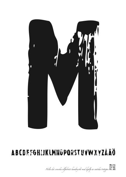 PRINT AV handtryckt bokstav svart på vitt - M