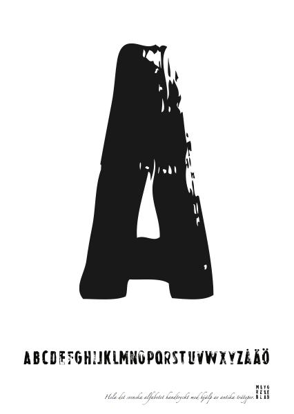 PRINT AV handtryckt bokstav svart på vitt - A