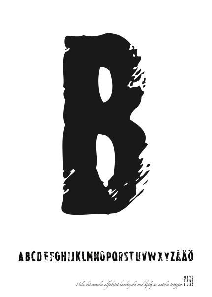 PRINT AV handtryckt bokstav svart på vitt - B