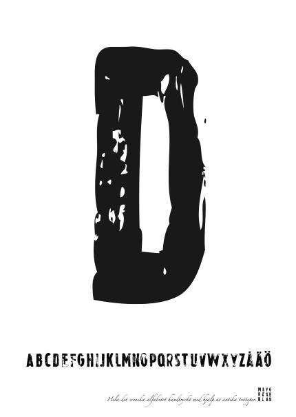 PRINT AV handtryckt bokstav svart på vitt - D