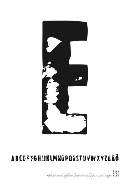 PRINT AV handtryckt bokstav svart på vitt - E
