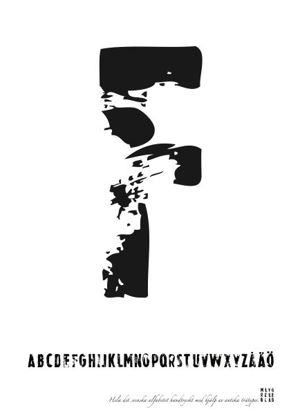 PRINT AV handtryckt bokstav svart på vitt - F