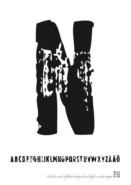 PRINT AV handtryckt bokstav svart på vitt - N