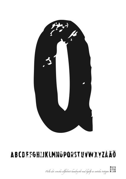 PRINT AV handtryckt bokstav svart på vitt - Q