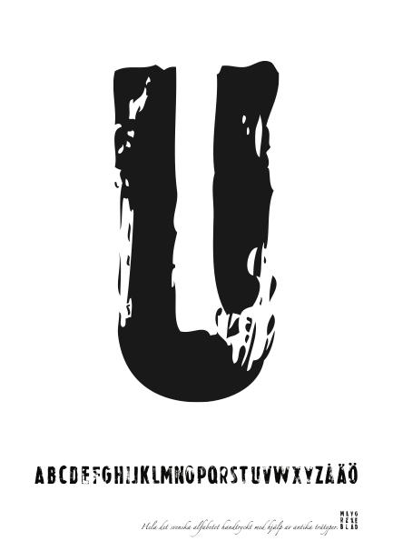 PRINT AV handtryckt bokstav svart på vitt - U