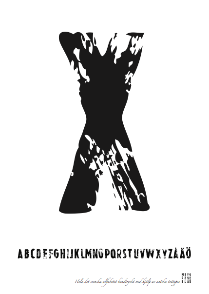 PRINT AV handtryckt bokstav svart på vitt - X