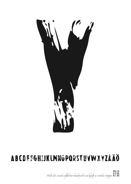 PRINT AV handtryckt bokstav svart på vitt - Y