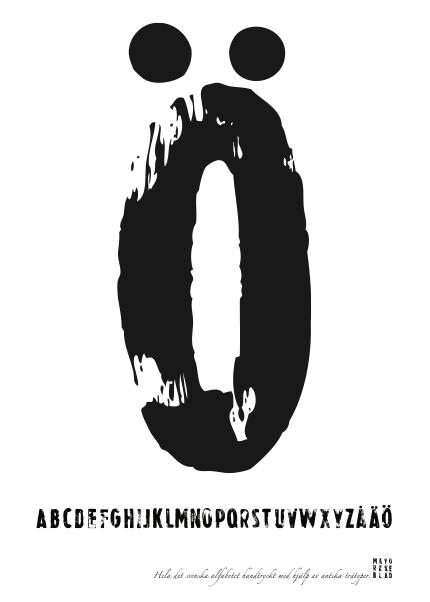 PRINT AV handtryckt bokstav svart på vitt - Ö