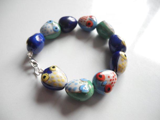Ugglor KIT - armband + halsband (blå)
