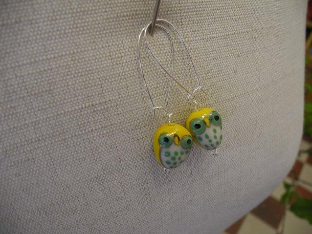 Örhänge uggla - gul/grön