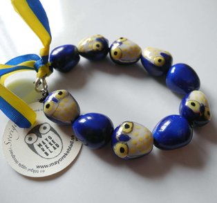 Armband - uggla gul & blå