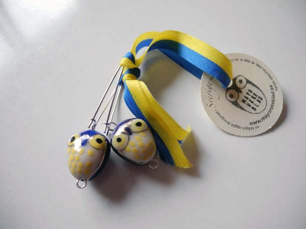 Örhänge uggla - gul & blå