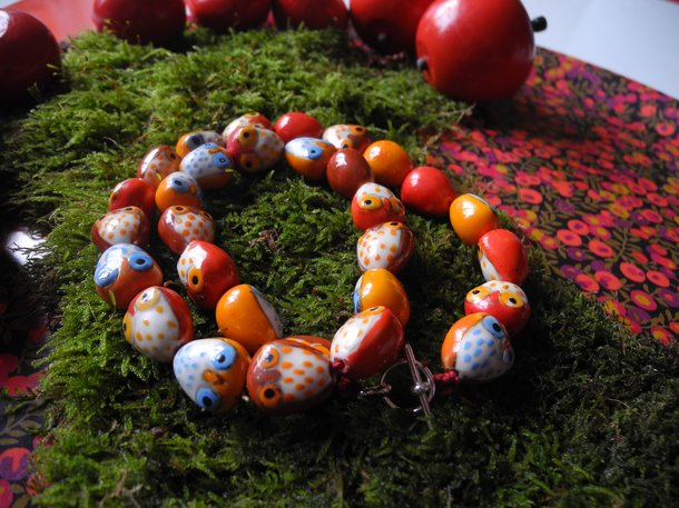 Halsband - Ugglor MEGA (rött)