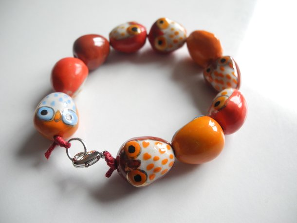 Ugglor KIT - armband + halsband (rött)