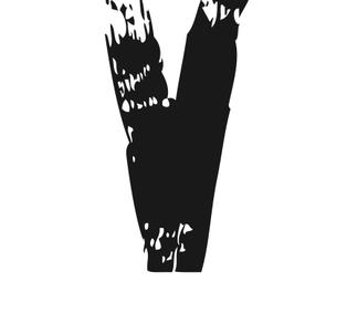 PRINT AV handtryckt bokstav svart på vitt - V