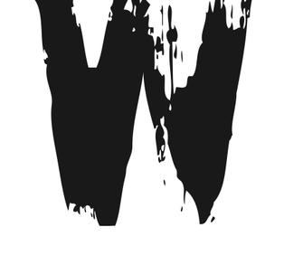PRINT AV handtryckt bokstav svart på vitt - W