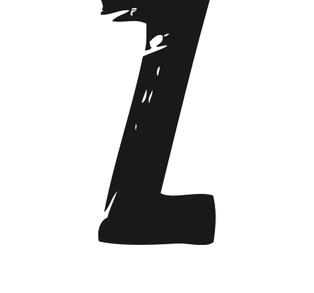 PRINT AV handtryckt bokstav svart på vitt - Z