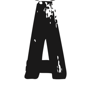PRINT AV handtryckt bokstav svart på vitt - Ä